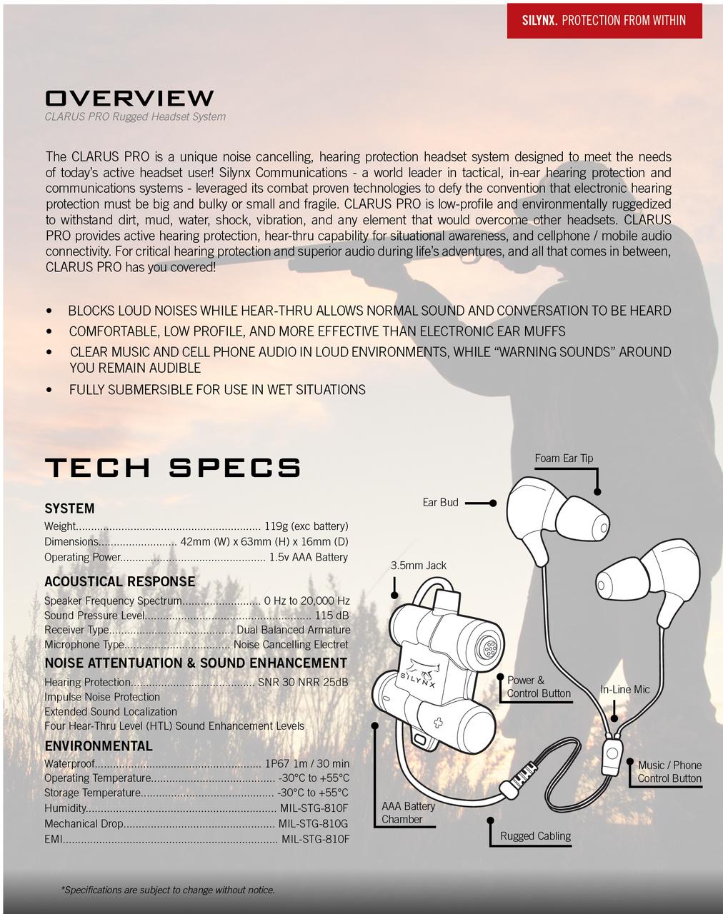 Clarus Pro Spec Sheet