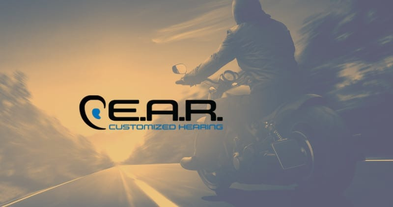 EAR customized hearing has special prodcucts for motorcyclists. picture of person on a motorcycle.